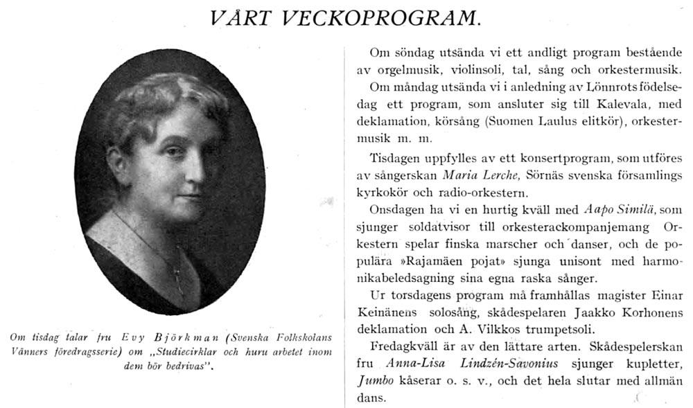 Evy Björkman i Rundradions veckoblad år 1929.
