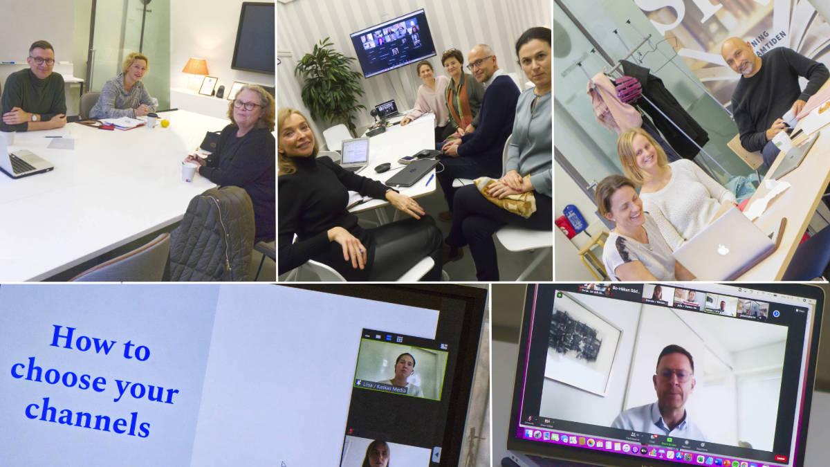 Tre av lagen valde att arbeta i SFV-huset G18. På bilden även Liisa Mayow och Niklas Wahlström, som deltog via videolänk-